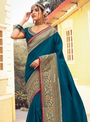 Blue Fancy Festival Traditional Designer Saree