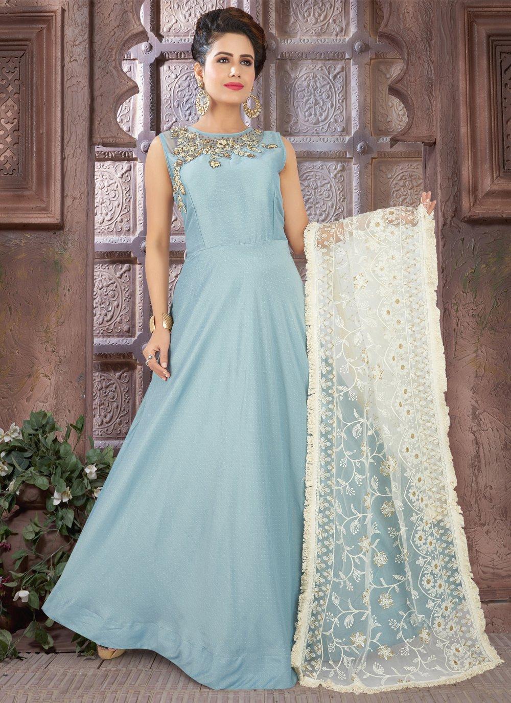Blue Fancy Floor Length Anarkali Suit