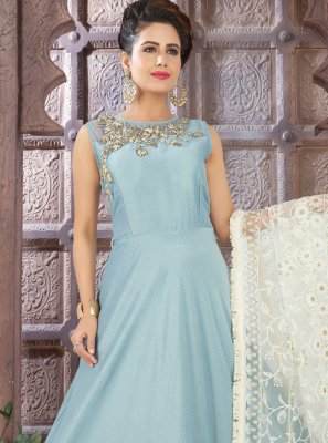 Blue Fancy Floor Length Anarkali Suit