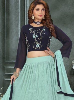 Blue Fancy Georgette Readymade Lehenga Choli
