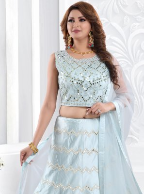 Blue Fancy Sangeet Readymade Lehenga Choli