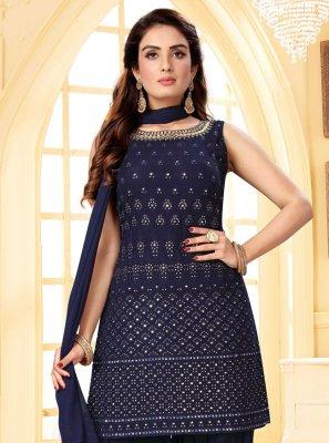 Blue Fancy Sangeet Readymade Suit