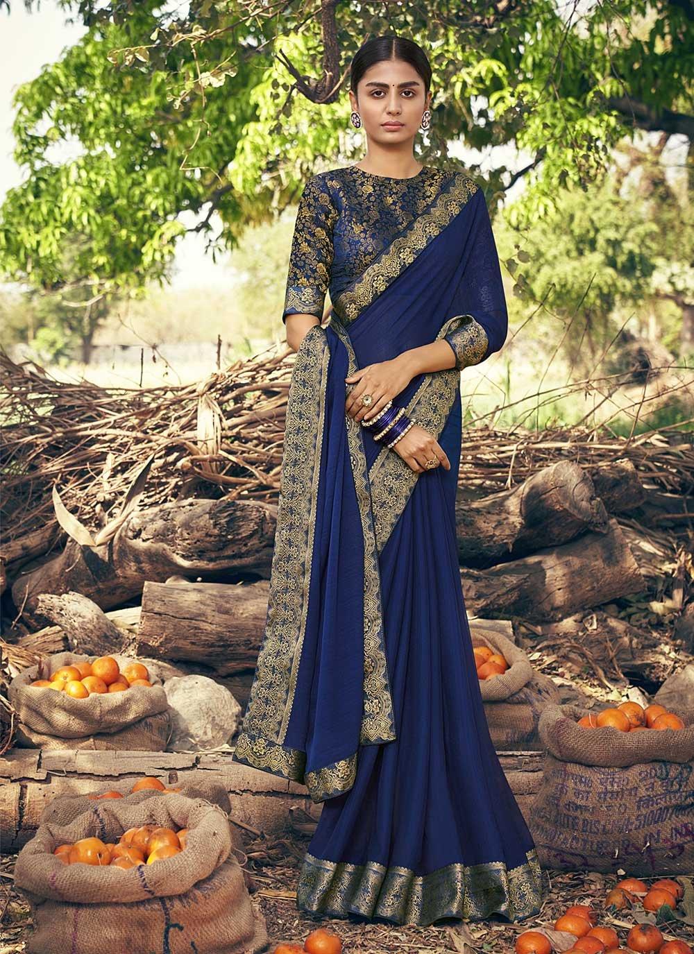 Blue Faux Chiffon Classic Designer Saree