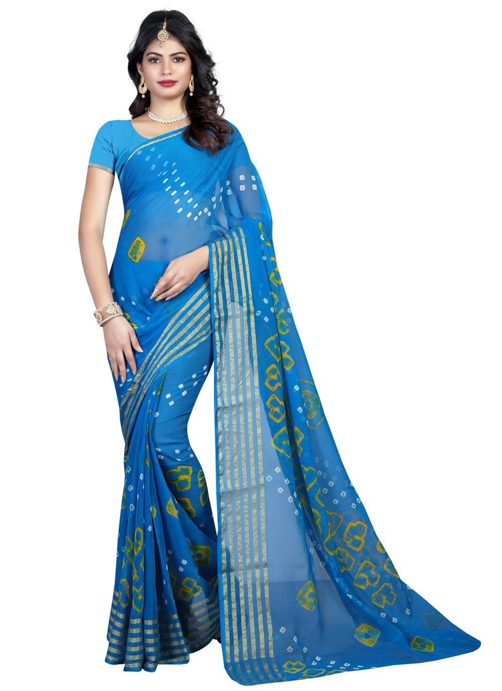 Blue Faux Chiffon Printed Saree