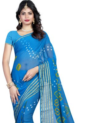 Blue Faux Chiffon Printed Saree
