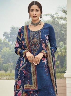 Blue Faux Crepe Designer Palazzo Suit