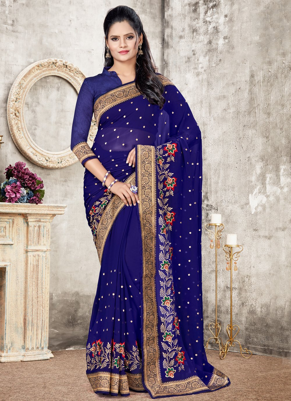 Blue Faux Georgette Ceremonial Designer Traditional Saree