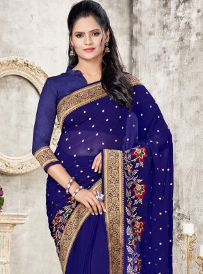 Blue Faux Georgette Ceremonial Designer Traditional Saree