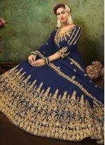 Blue Faux Georgette Ceremonial Floor Length Anarkali Suit