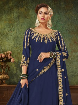 Blue Faux Georgette Ceremonial Floor Length Anarkali Suit