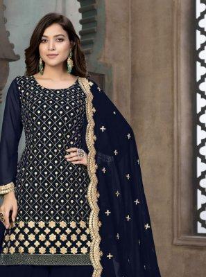 Blue Faux Georgette Designer Pakistani Suit