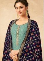 Blue Faux Georgette Designer Palazzo Salwar Suit