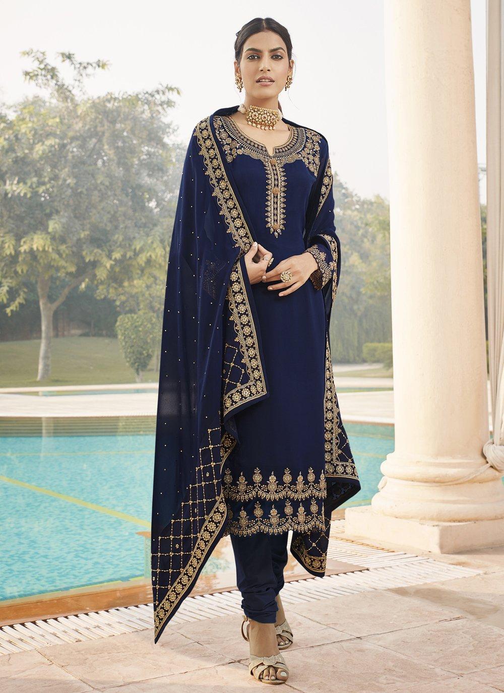 Blue Faux Georgette Designer Straight Suit