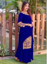 Blue Faux Georgette Embroidered Long Choli Lehenga
