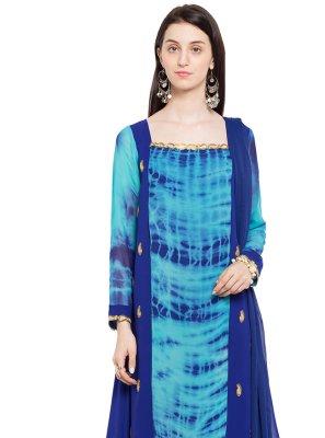 Blue Faux Georgette Engagement Readymade Anarkali Salwar Suit
