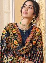 Blue Faux Georgette Festival Designer Pakistani Suit
