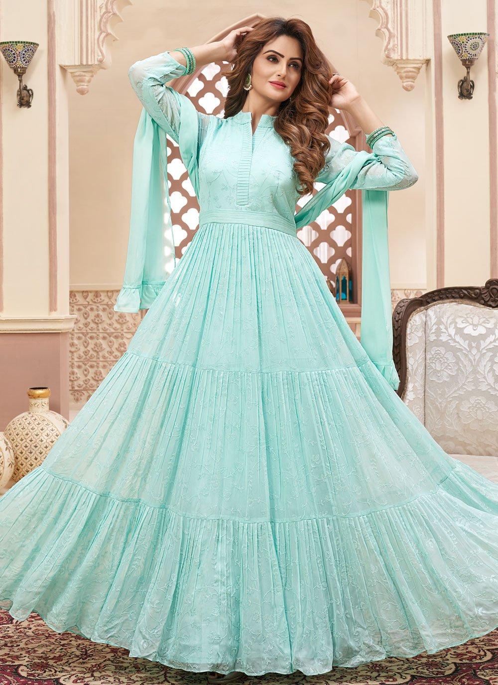 Blue Faux Georgette Festival Readymade Anarkali Salwar Suit