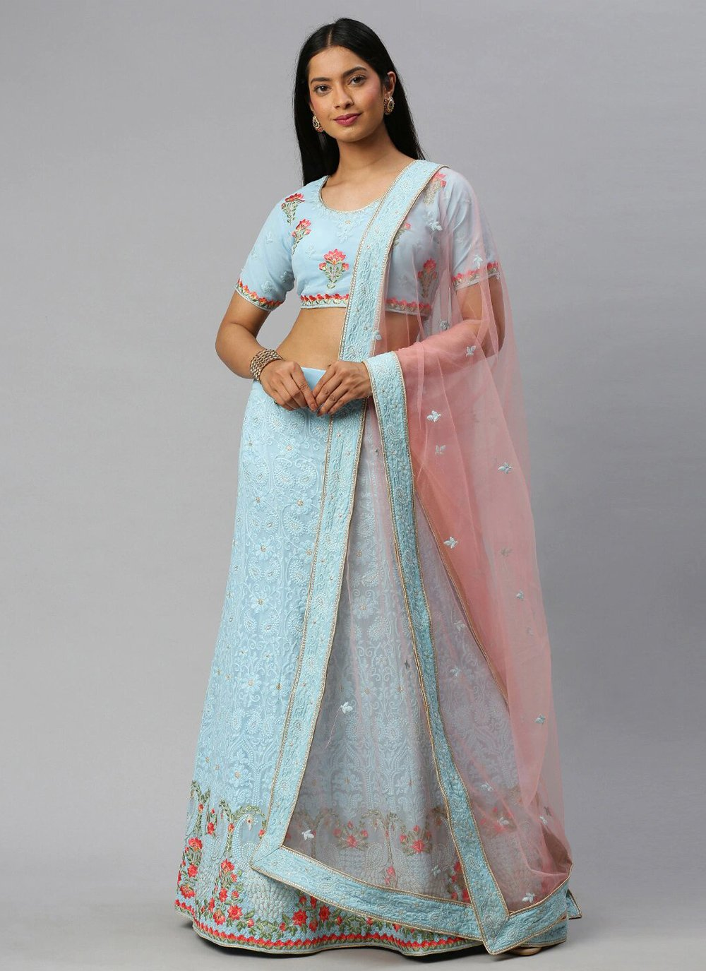 Blue Faux Georgette Lehenga Choli