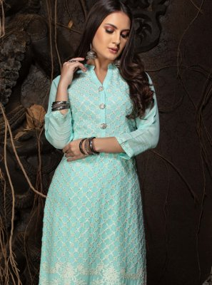 Blue Faux Georgette Party Wear Kurti