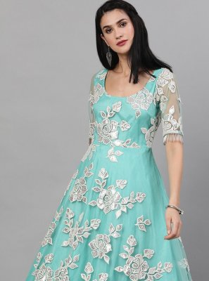 Blue Faux Georgette Readymade Gown