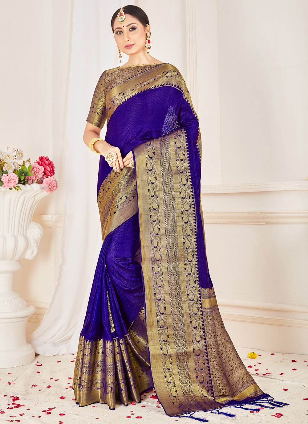 Blue Festival Art Banarasi Silk Designer Traditional Saree