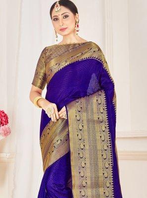 Blue Festival Art Banarasi Silk Designer Traditional Saree