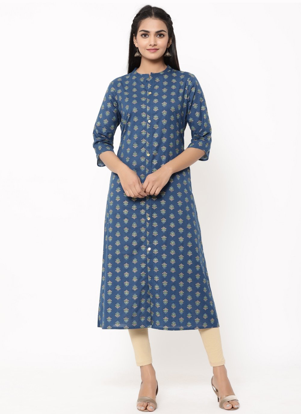 Blue Festival Cotton Designer Kurti