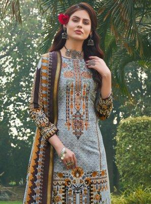 Blue Festival Cotton Designer Palazzo Suit
