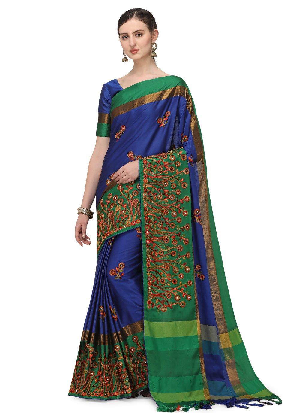 Blue Festival Cotton Silk Traditional Saree