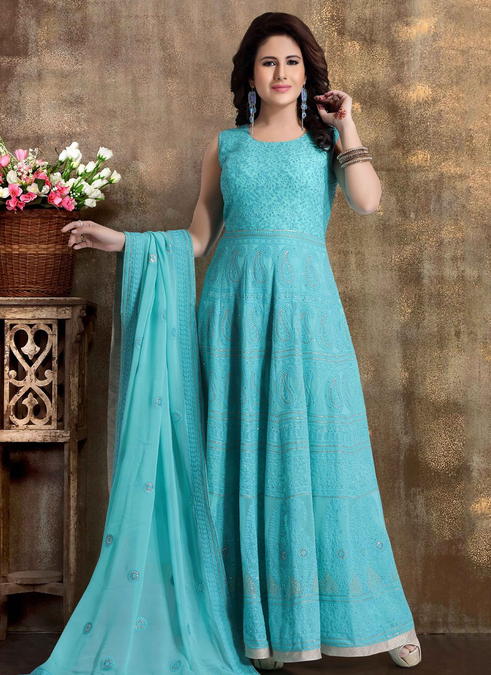 Blue Festival Readymade Anarkali Salwar Suit