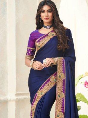 Blue Festival Silk Contemporary Saree