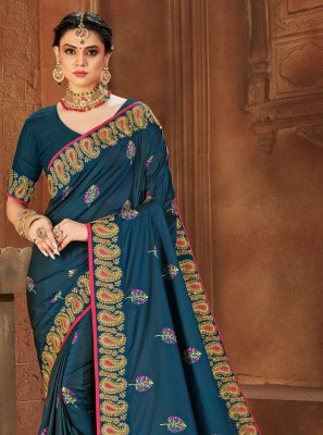 Blue Festival Silk Designer Traditional Saree