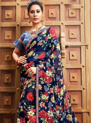 Blue Floral Print Faux Chiffon Bollywood Saree