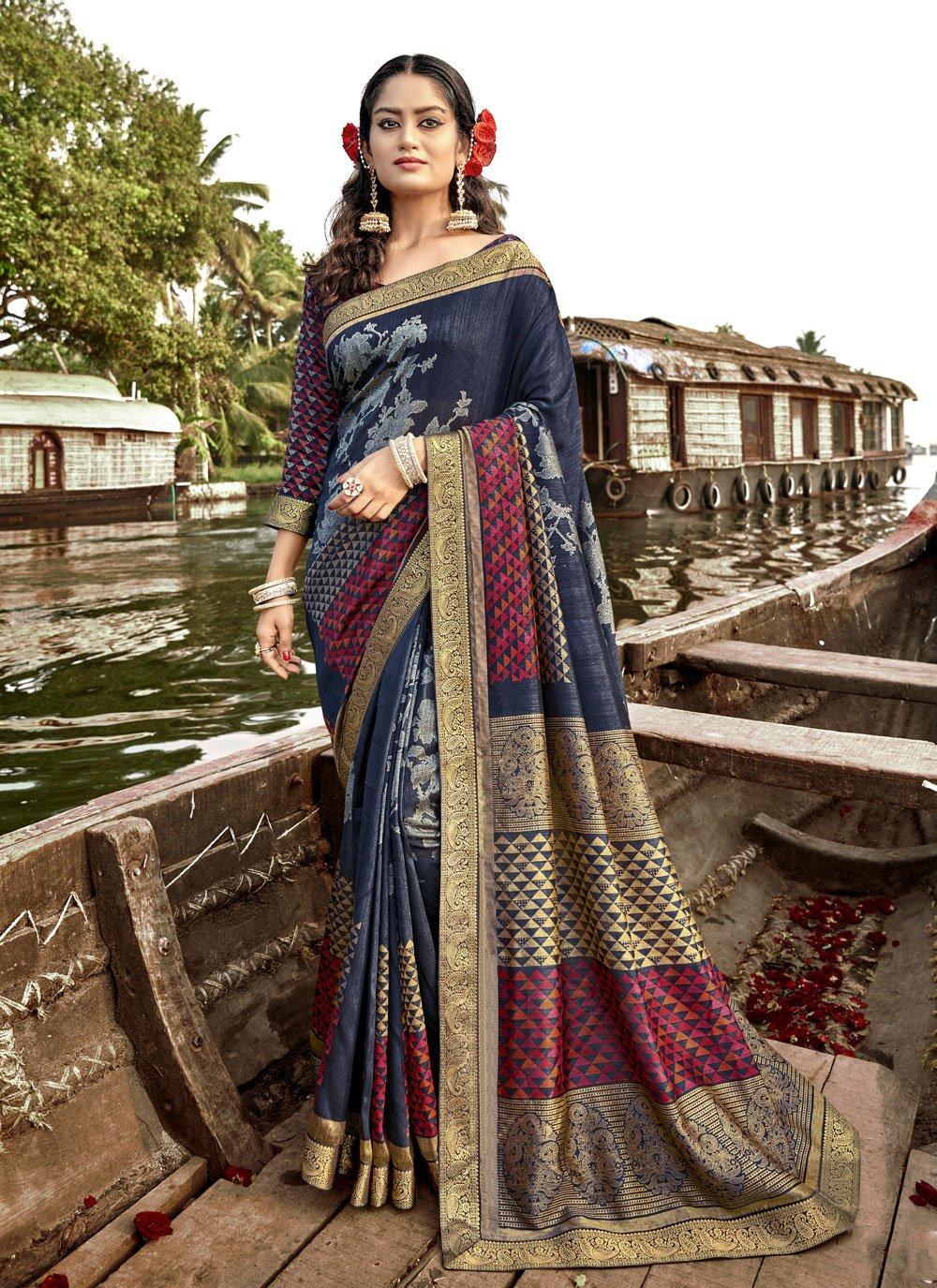 Blue Foil Print Vichitra Silk Trendy Saree
