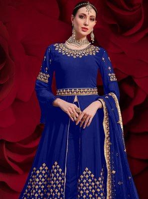 Blue Georgette Pant Style Suit
