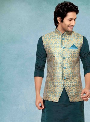 Blue Jacquard Ceremonial Kurta Payjama With Jacket