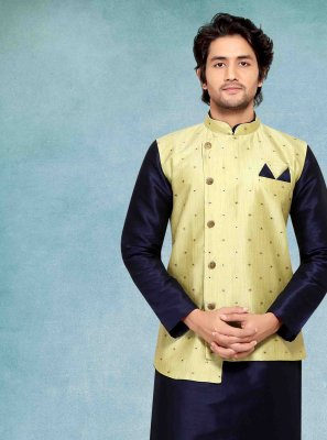 Blue Jacquard Silk Ceremonial Kurta Payjama With Jacket