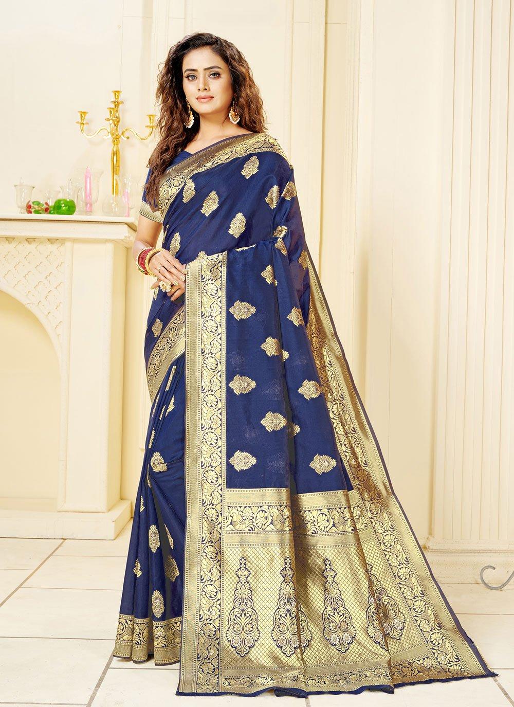 Blue Jacquard Trendy Saree