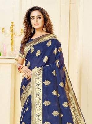 Blue Jacquard Trendy Saree