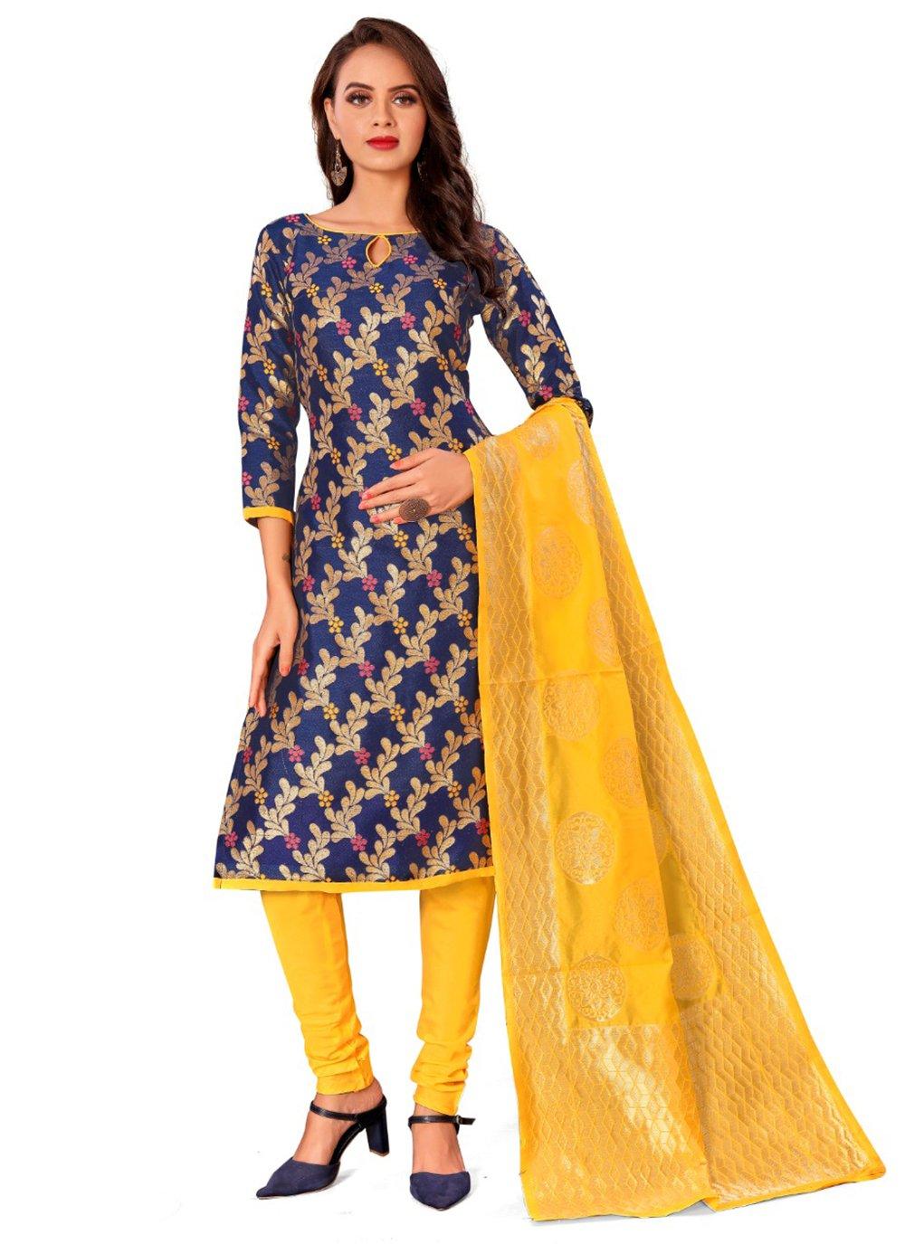 Blue Jacquard Work Churidar Designer Suit
