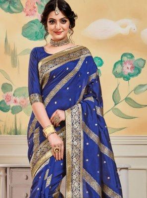 Blue Jacquard Work Festival Designer Traditional Saree