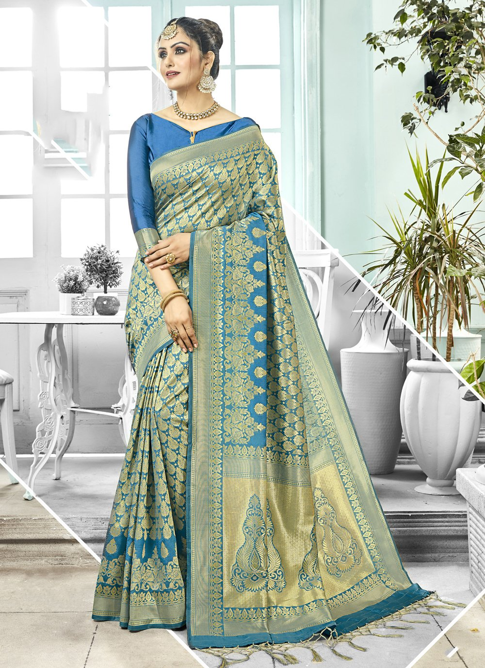 Blue Kanchipuram Silk Festival Trendy Saree