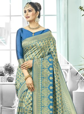 Blue Kanchipuram Silk Festival Trendy Saree