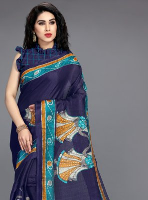 Blue Khadi Silk Printed Printed Saree