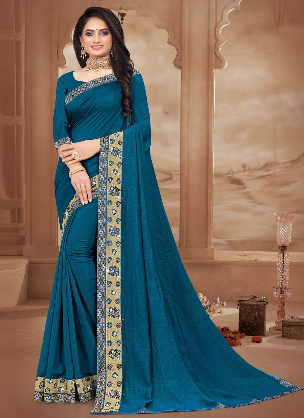 Blue Lace Casual Trendy Saree