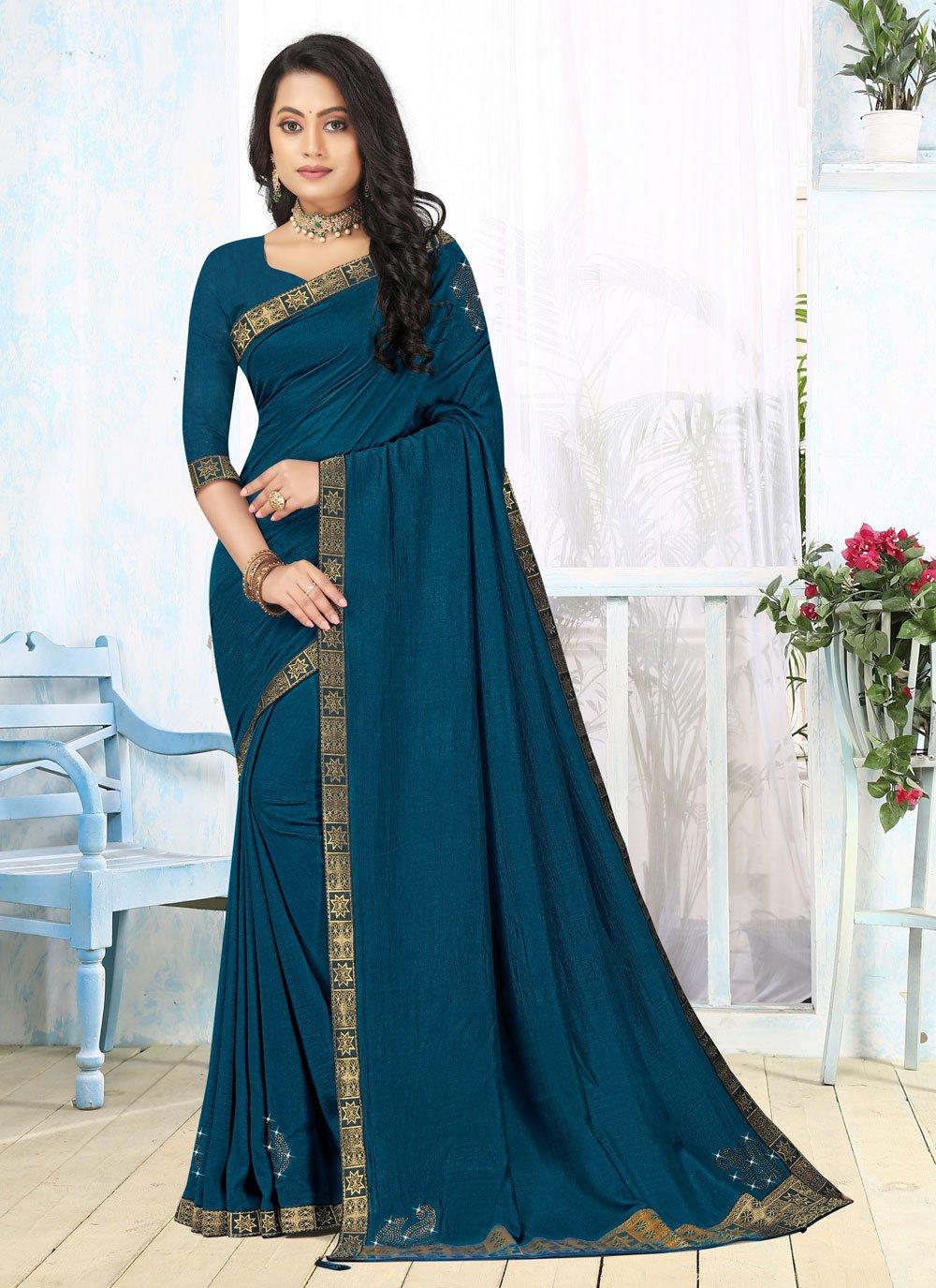 Blue Lace Classic Saree