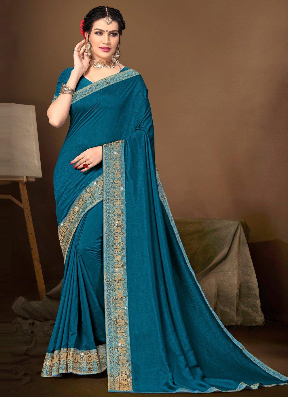 Blue Lace Silk Traditional Saree
