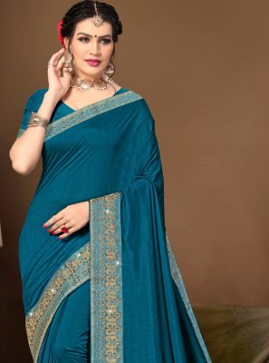 Blue Lace Silk Traditional Saree