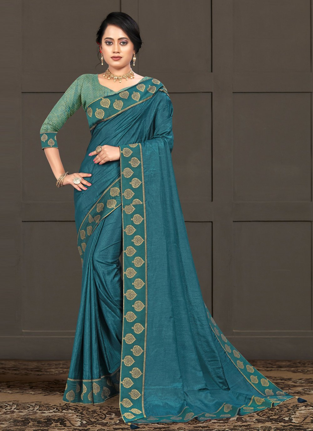 Blue Lace Silk Trendy Saree