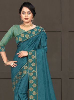 Blue Lace Silk Trendy Saree
